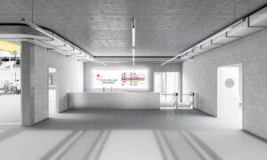 Eingangsbereich des Neubaus Switzerland Innovation PArk Biel