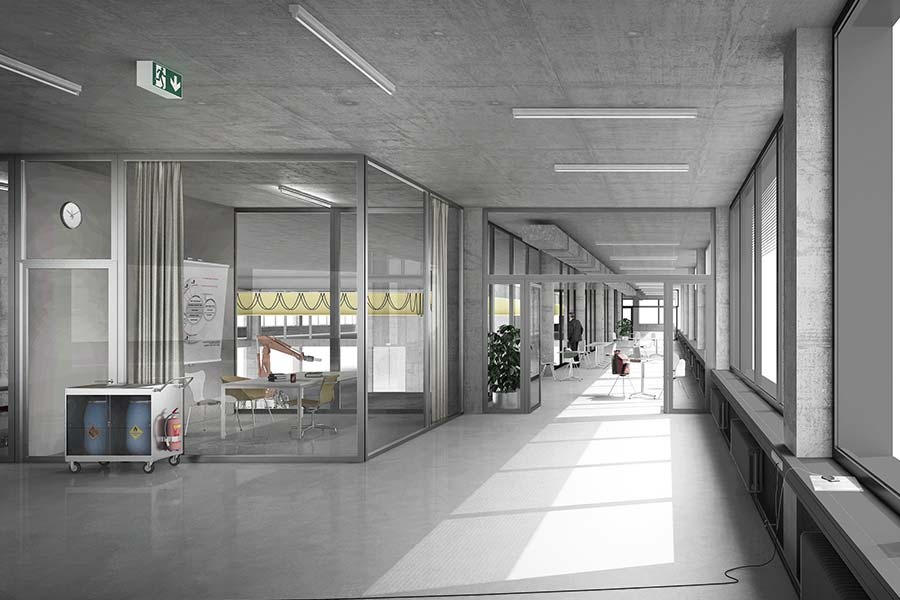 Aussengang des Neuen Gebäudes SIPBB