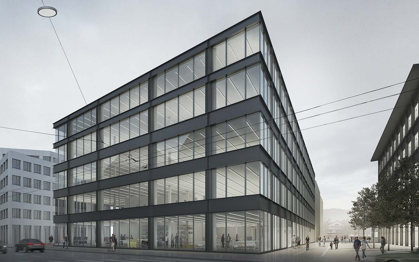 Neubau des Switzerland Innovation Parks Biel/Bienne. A 15000 square meter building on 5 floors, with coworking-spaces, laboratories, offices and a a smart factory at his core.